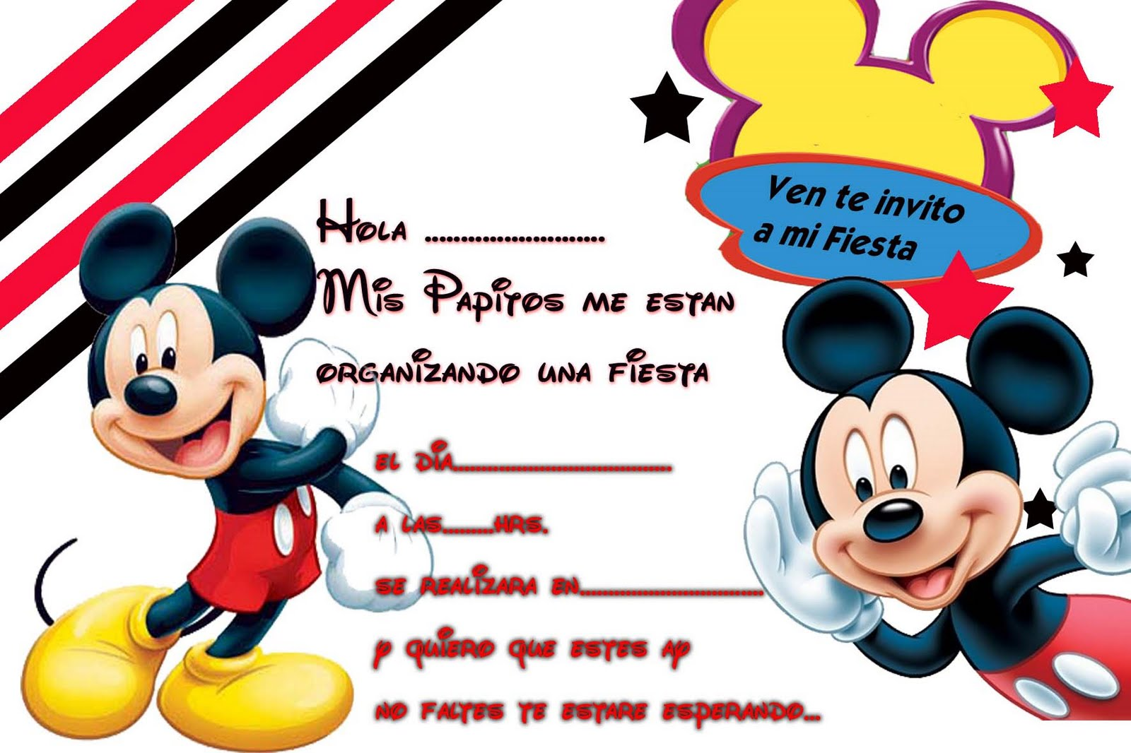 De Plea  Os   Tarjetas De Plea  Os   Tarjetas De Mickey Mouse
