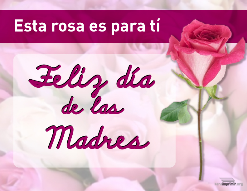 Tarjeta Para Imprimir Del Día De Las Madres