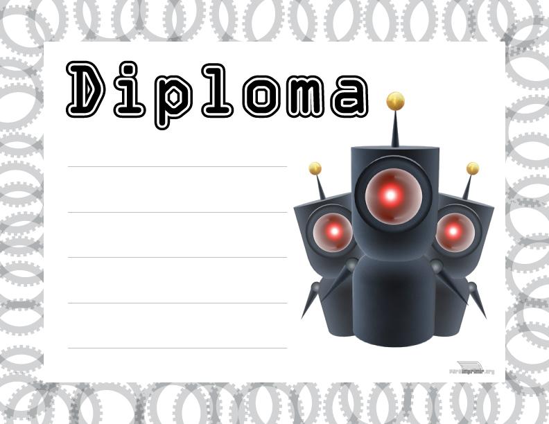 diploma con robots para imprimir