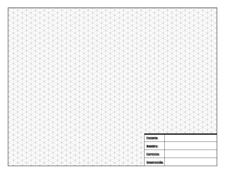 Hoja para dibujo técnico con retícula para isométrico para imprimir