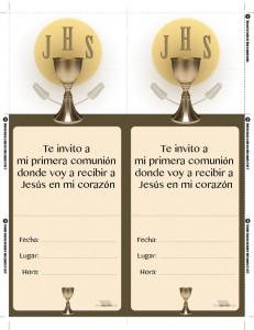 Invitación de primera comunión para imprimir