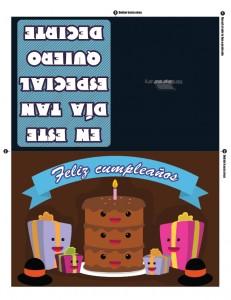 Tarjeta de feliz cumpleaños con pastel del chocolate de 3 pisos para imprimir