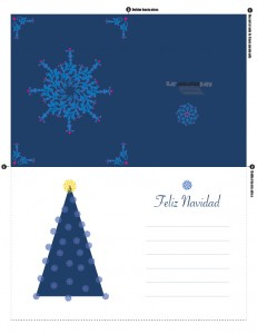Taerjeta de navidad árbol azul