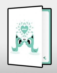 Tarjeta de amor color verde