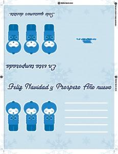 Tarjeta de feliz navidad y prospero año nuevo de color azul para imprimir