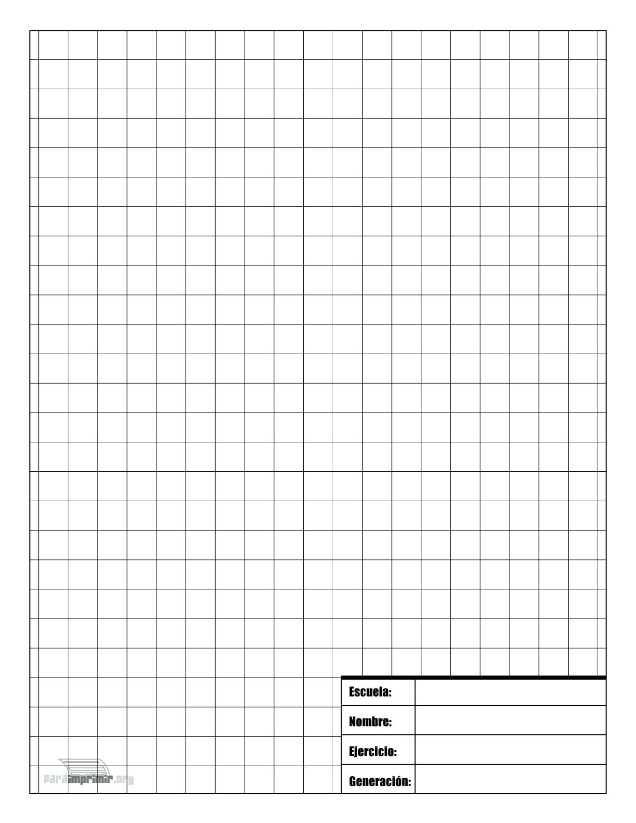 Hoja de Dibujo técnico con cuadricula de 1 centímetro para imprimir