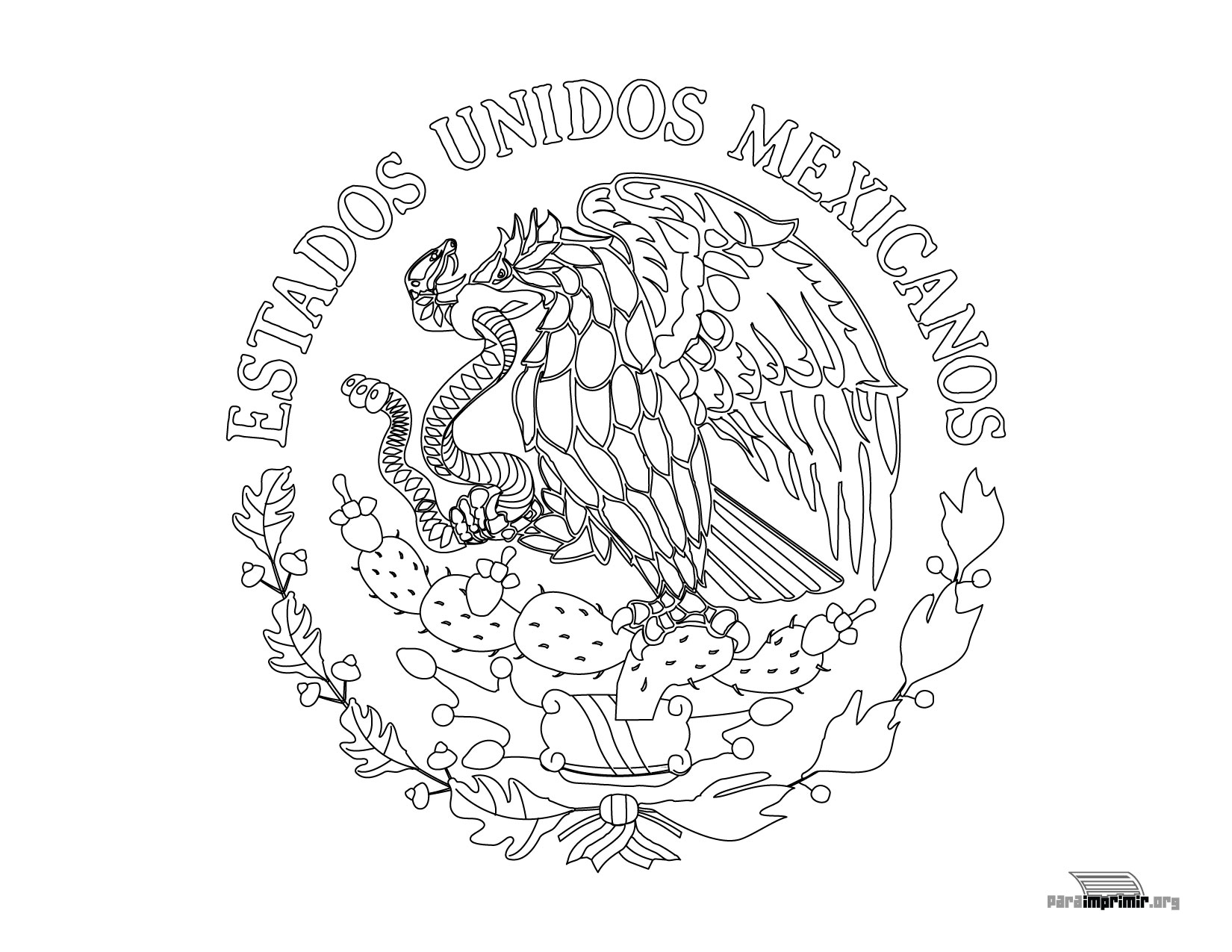 Escudo Nacional de México para colorear para imprimir