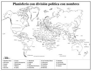 Planisferio con división política con nombres