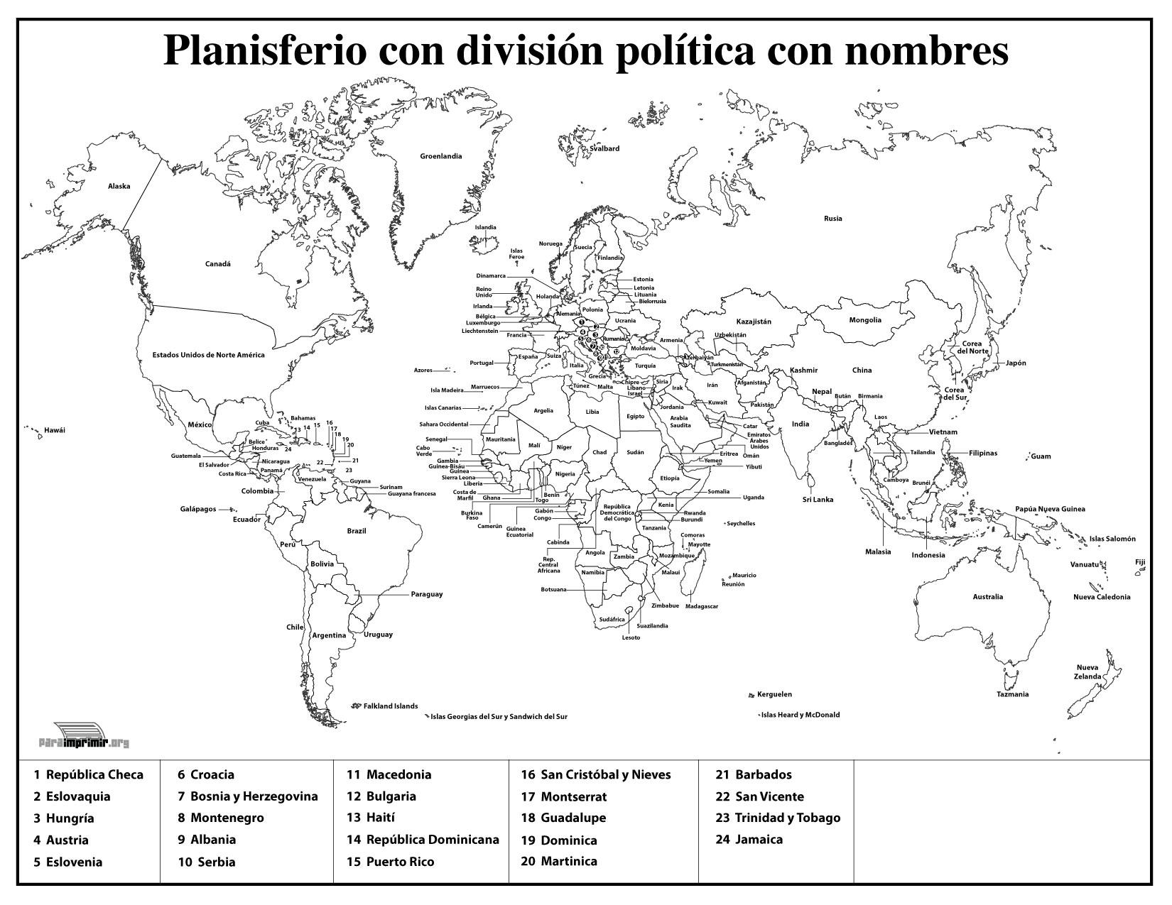 Mapamundi Con División Política Con Nombres Para Imprimir