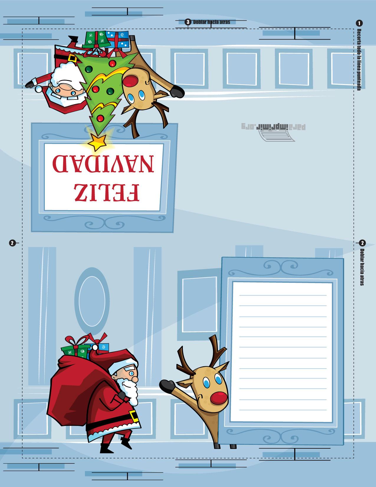 Tarjeta de navidad para imprimir - Sobre de navidad para imprimir ...