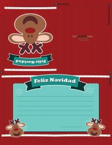Tarjeta de renos de navidad para imprimir