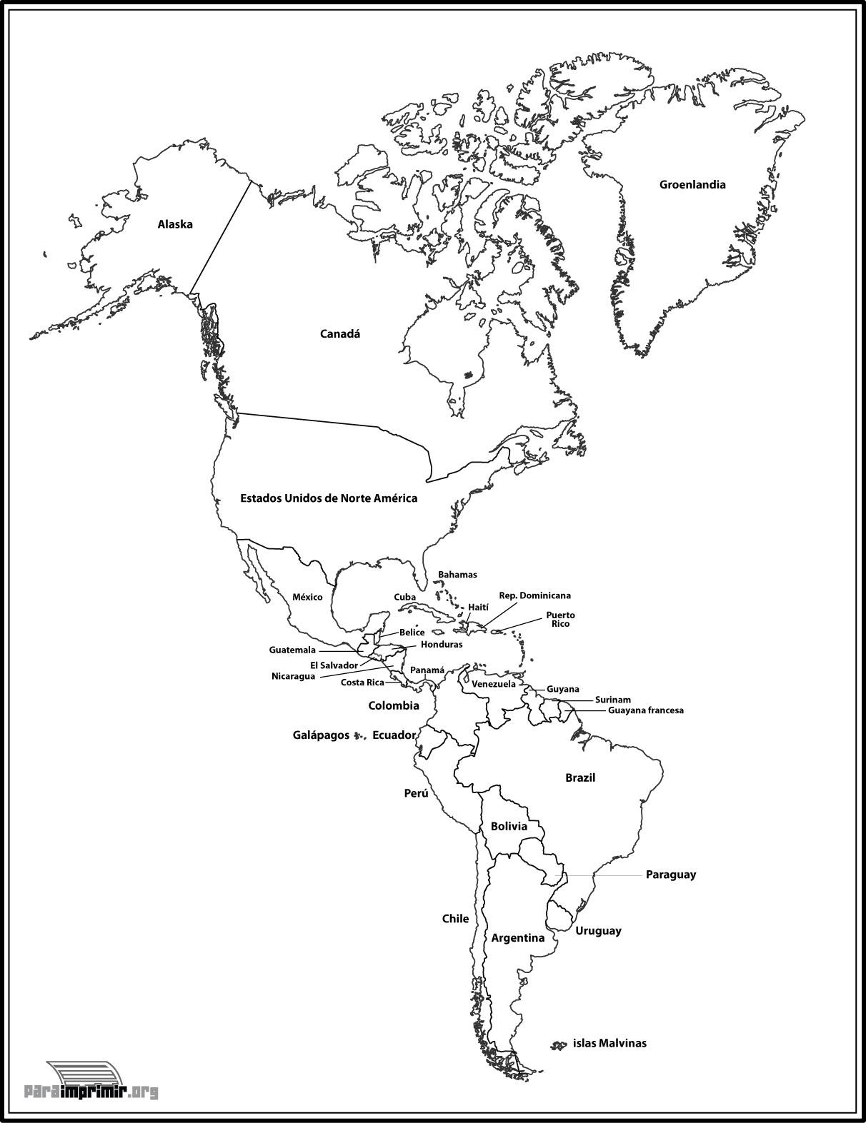 Mapa de el continente americano para imprimir