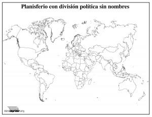 Mapamundi con división política sin nombres para imprimir