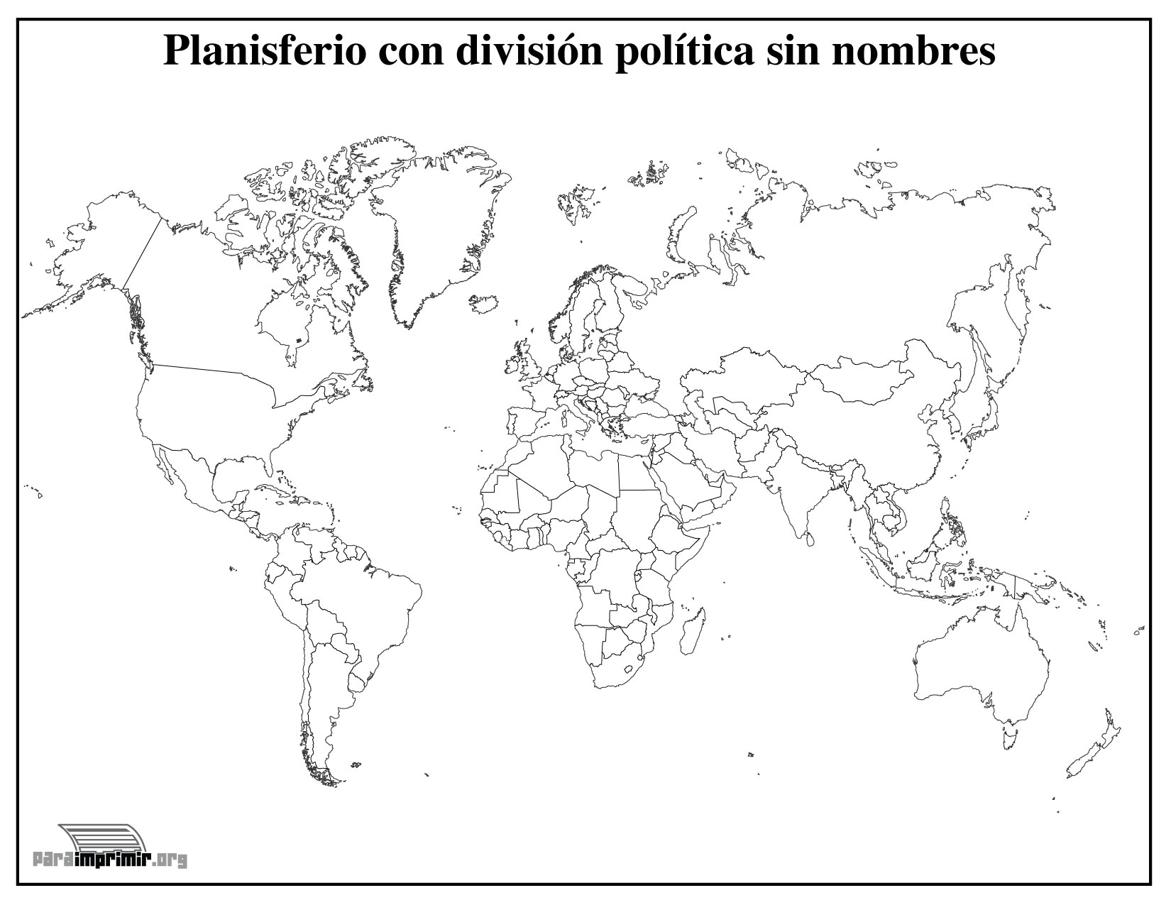 Mapamundi con divisin poltica sin nombres para imprimir