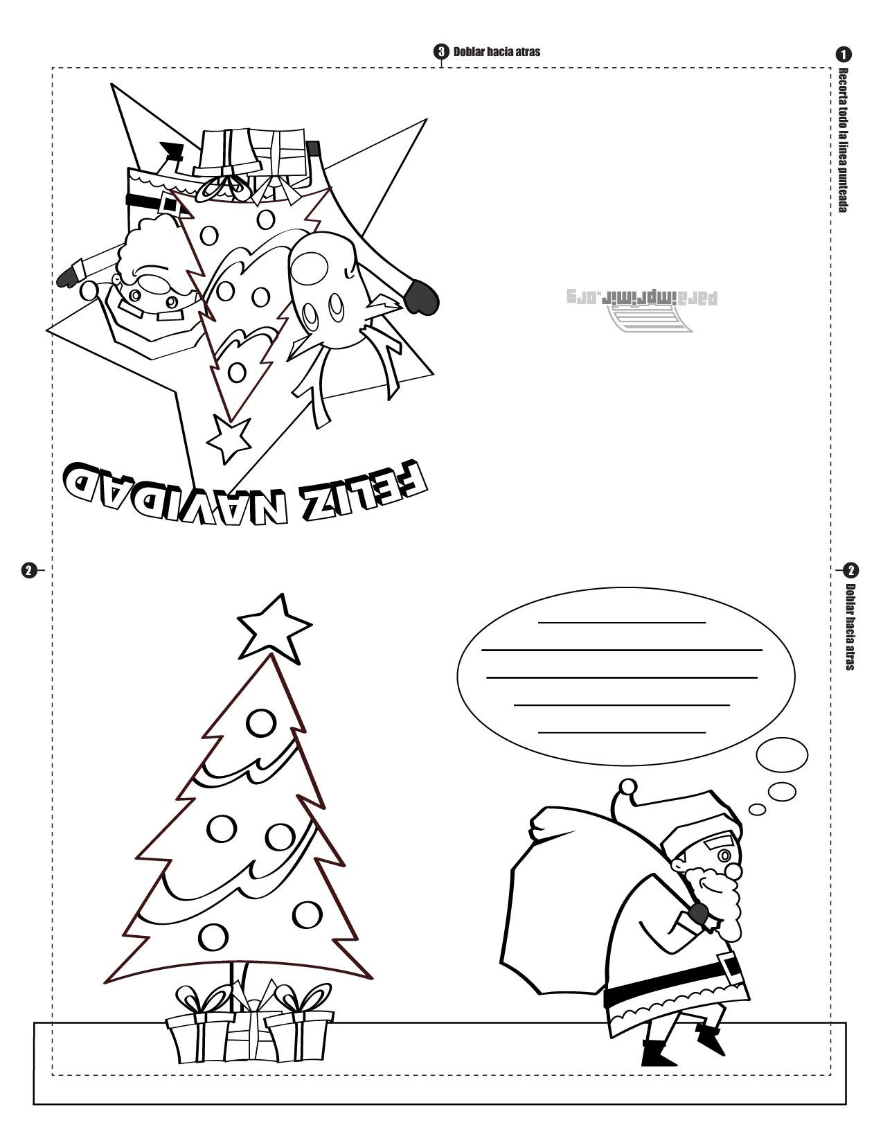 Tarjeta Navideña Para Imprimir Y Colorear