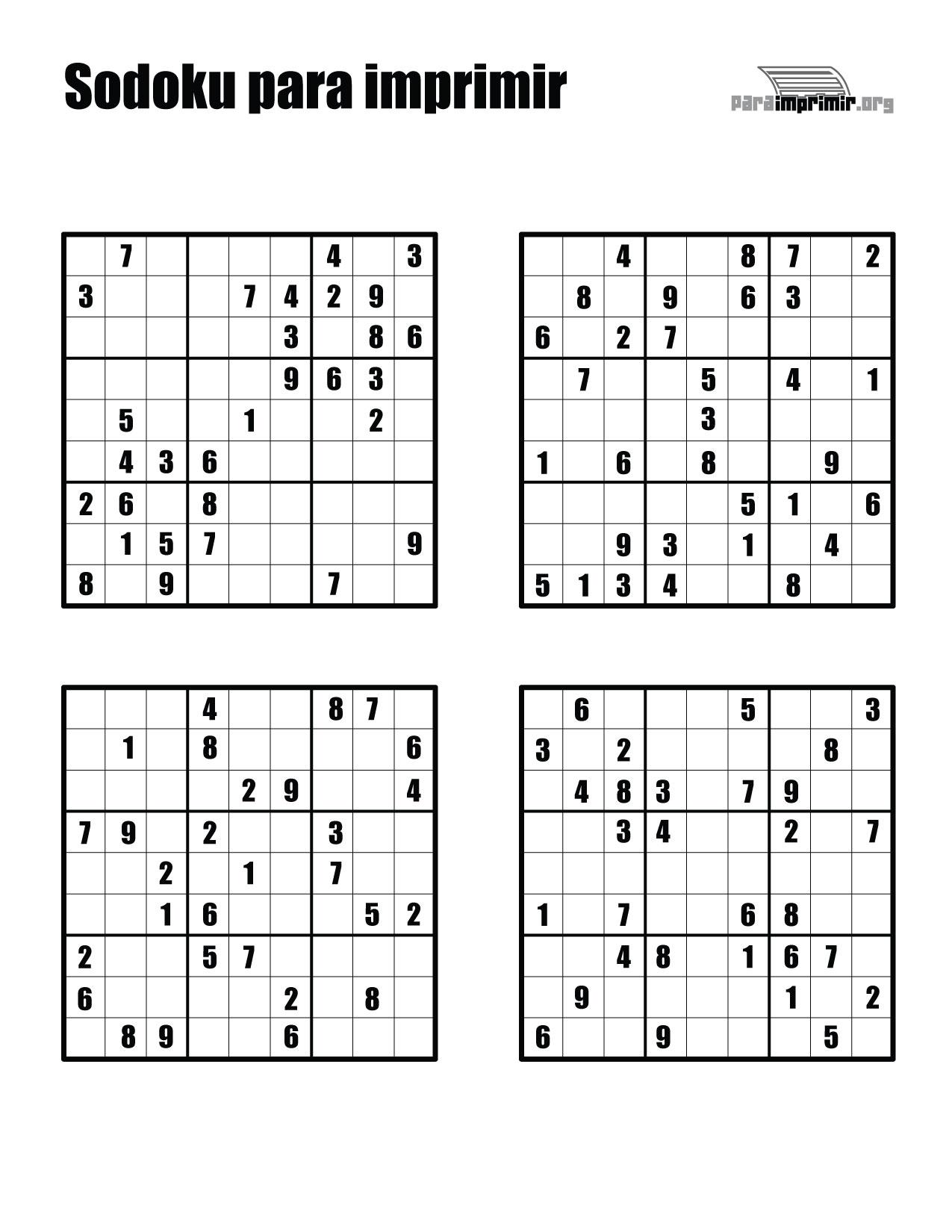3 juegos de Sudoku para imprimir  Juegos Gratis para todos los gustos