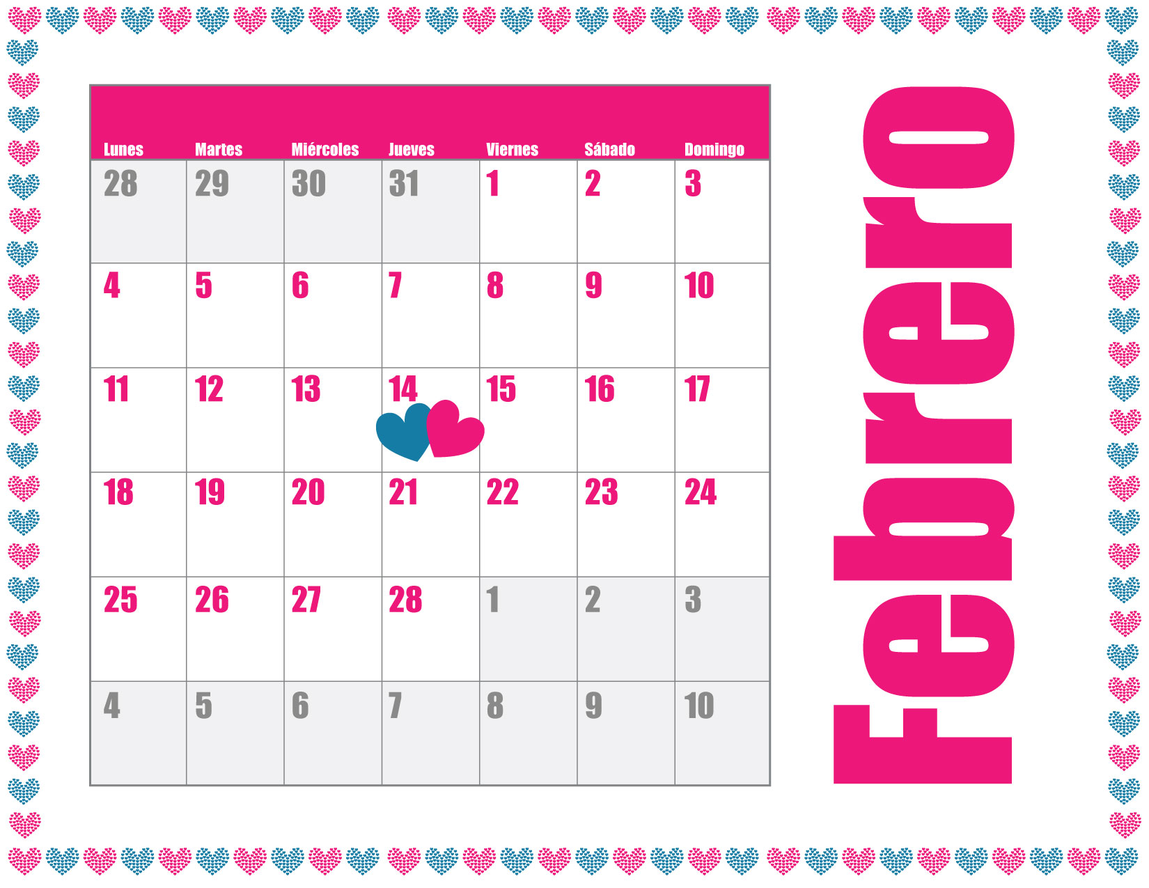 Calendario de febrero 2013 para imprimir