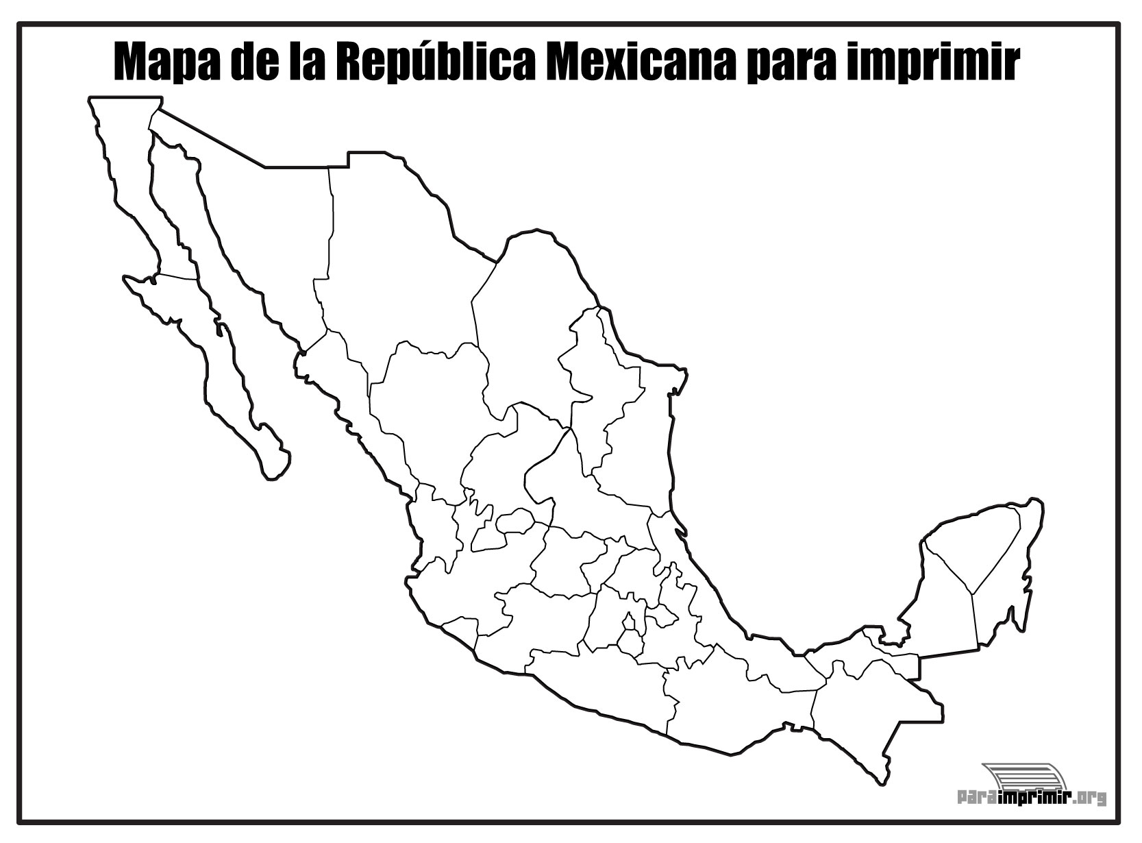 Mapa De La República Mexicana Sin Nombre Para Imprimir