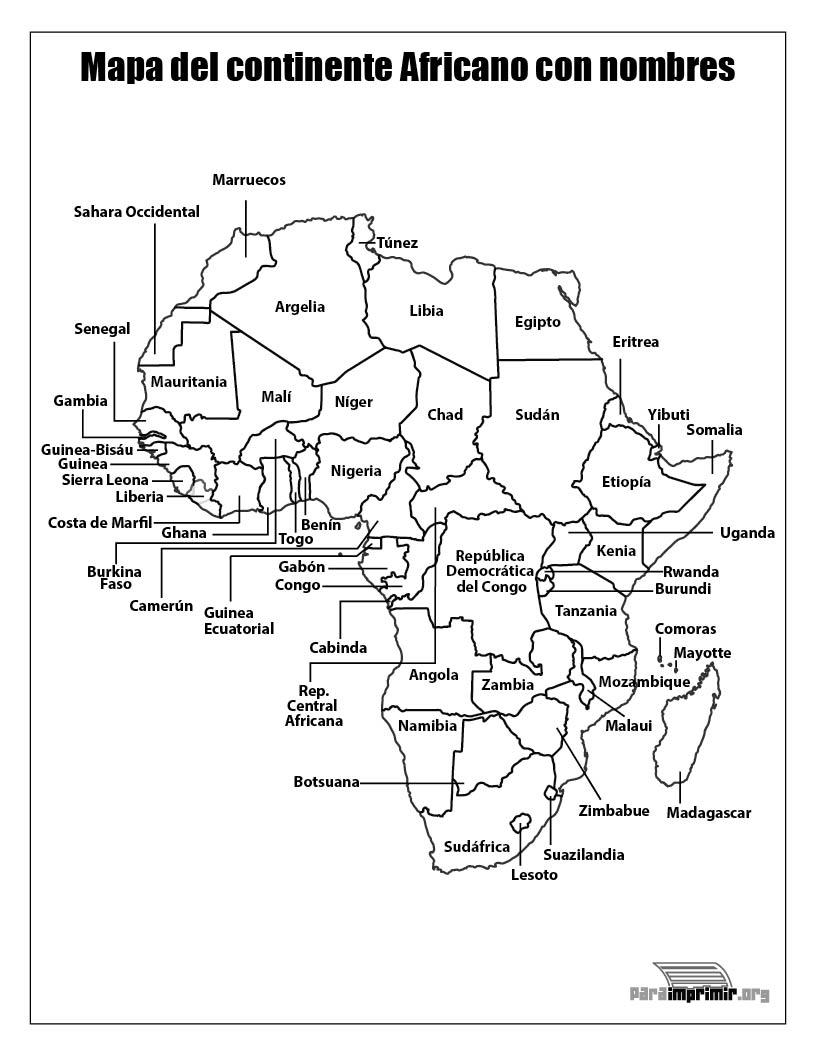 Mapa Del Continente Africano Con Nombres Para Imprimir