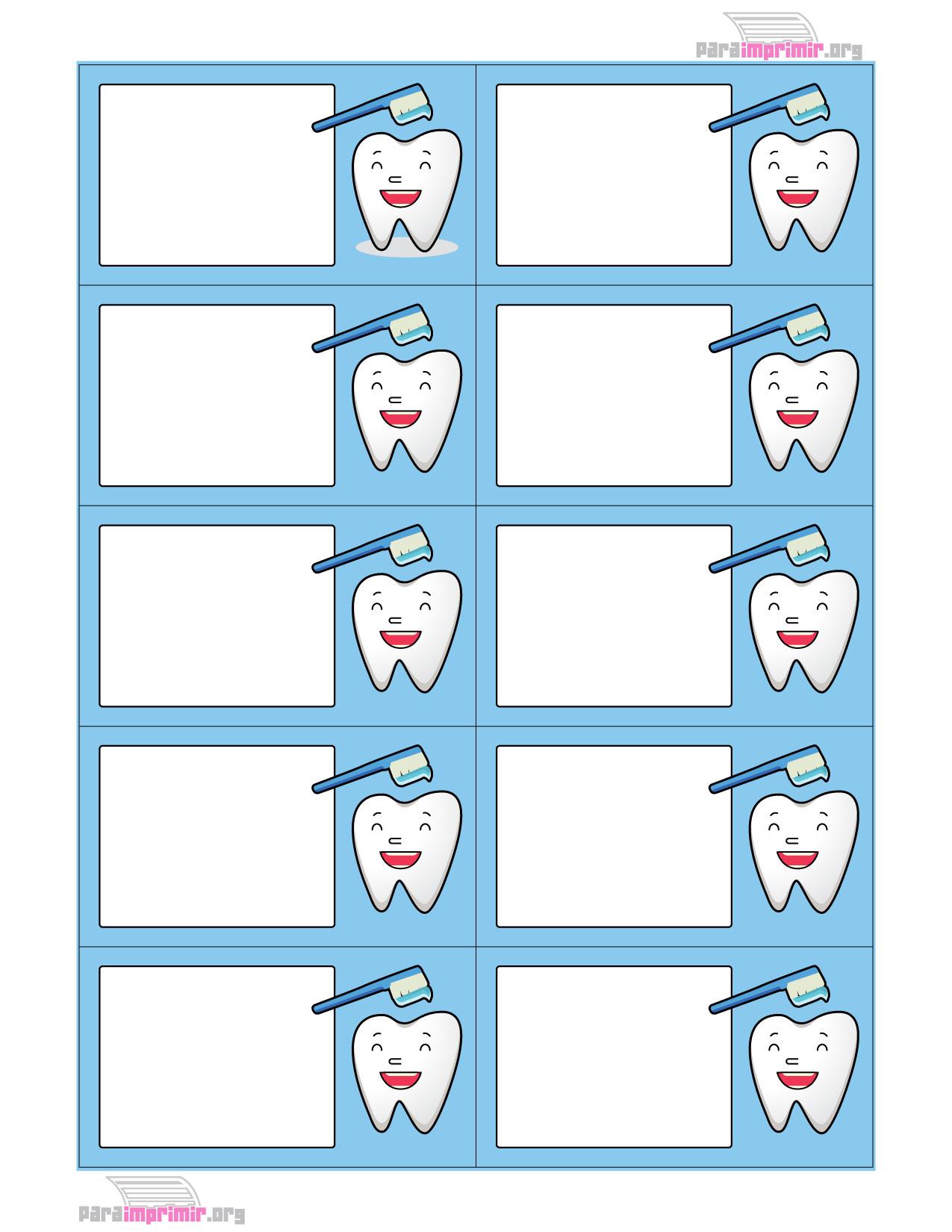 Tarjetas de presentación para dentista para imprimir