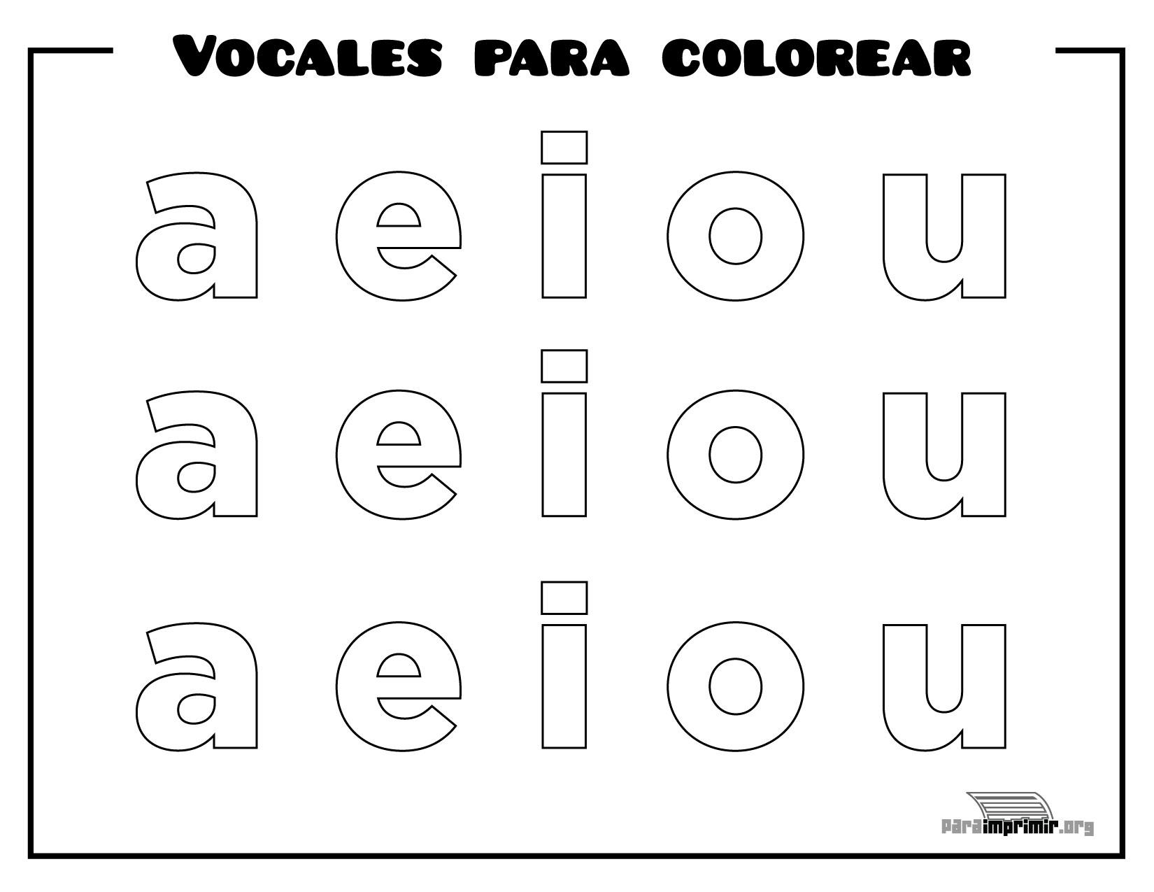 Vocales Para Colorear Y Para Imprimir