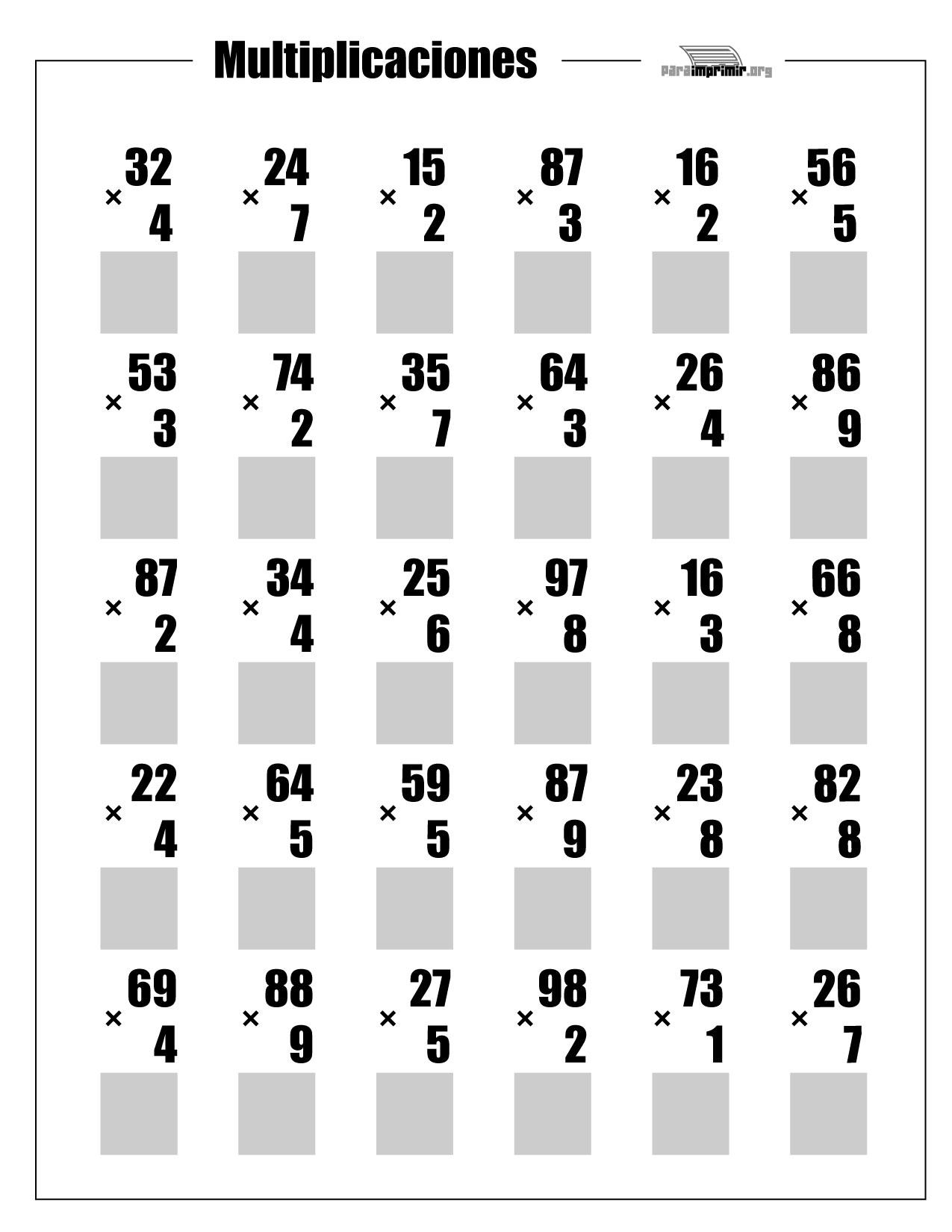 Multiplicaciones De 2 Dígitos Para Imprimir