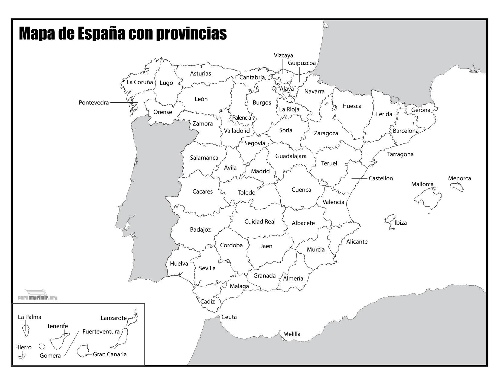 Mapa de España con nombres para imprimir