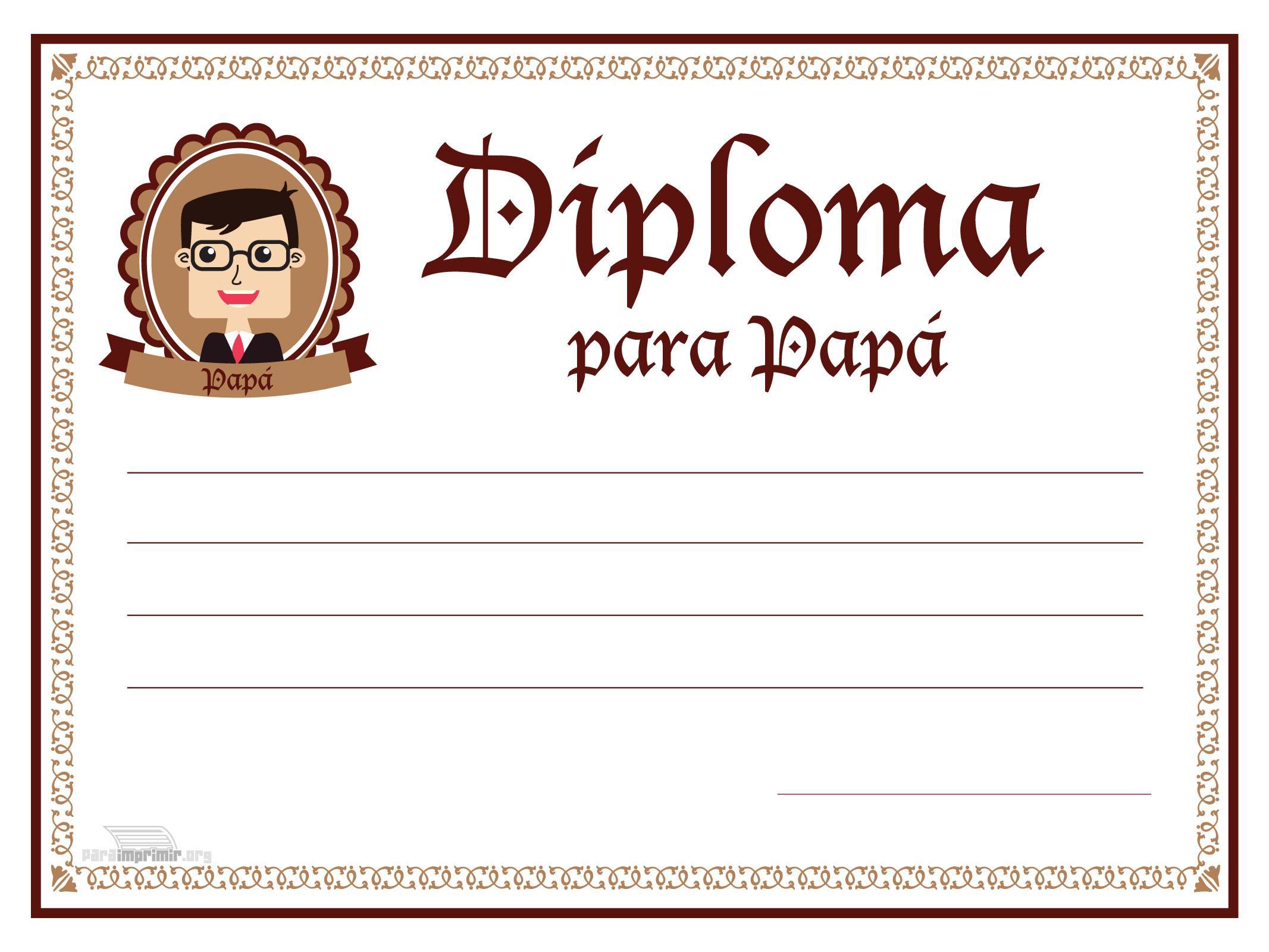 Diploma de Feliz día del Padre para imprimir
