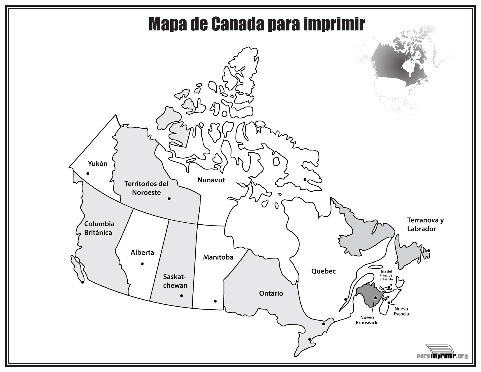 Mapa de Canadá con nombres para imprimir