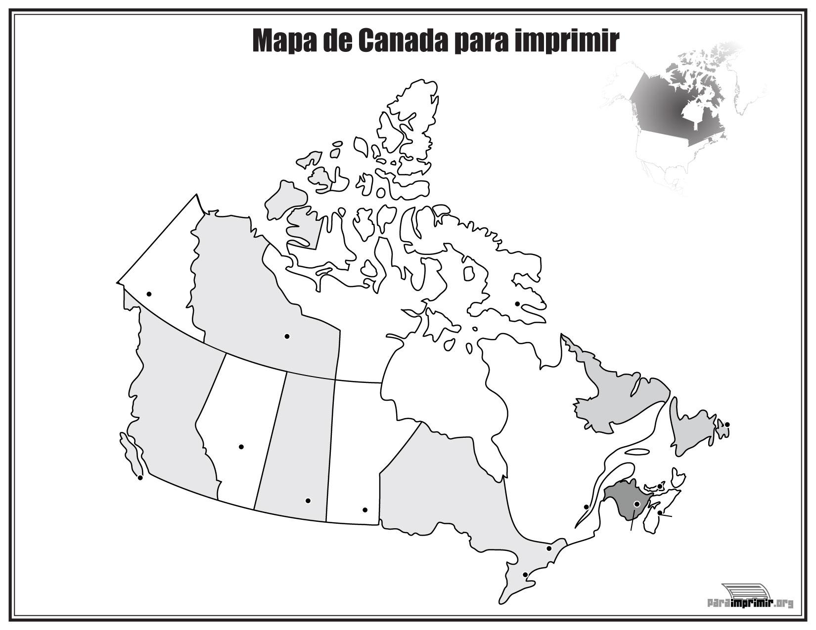 Mapa de Canadá sin nombres para imprimir