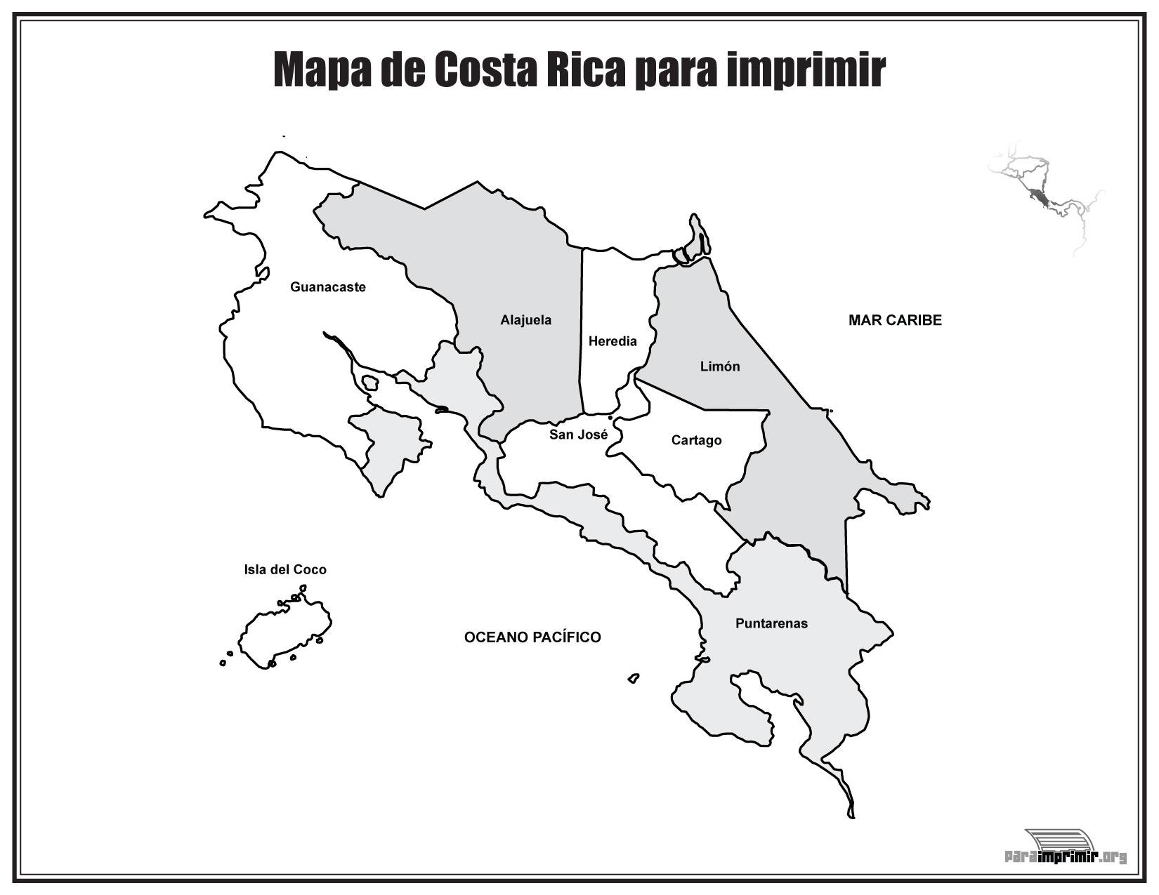 Mapa de Costa Rica con nombres para imprimir