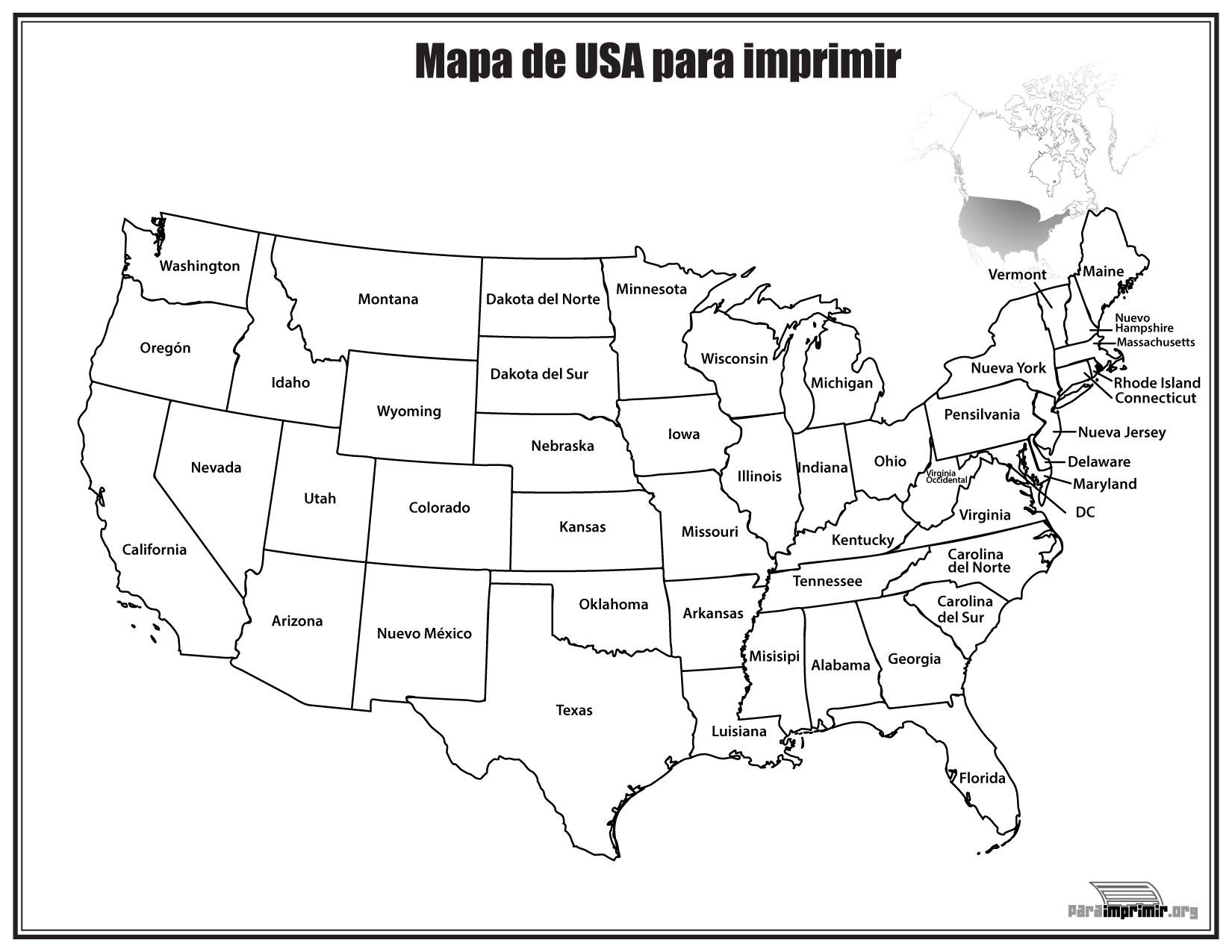 Mapa De Estados Unidos Con Nombres Para Imprimir