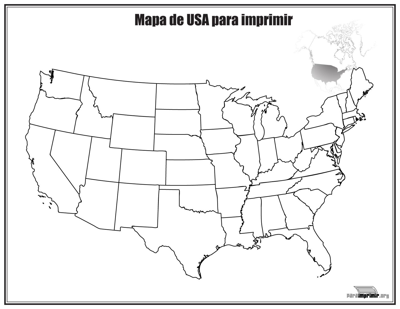 Mapa de Estados Unidos sin nombres para imprimir
