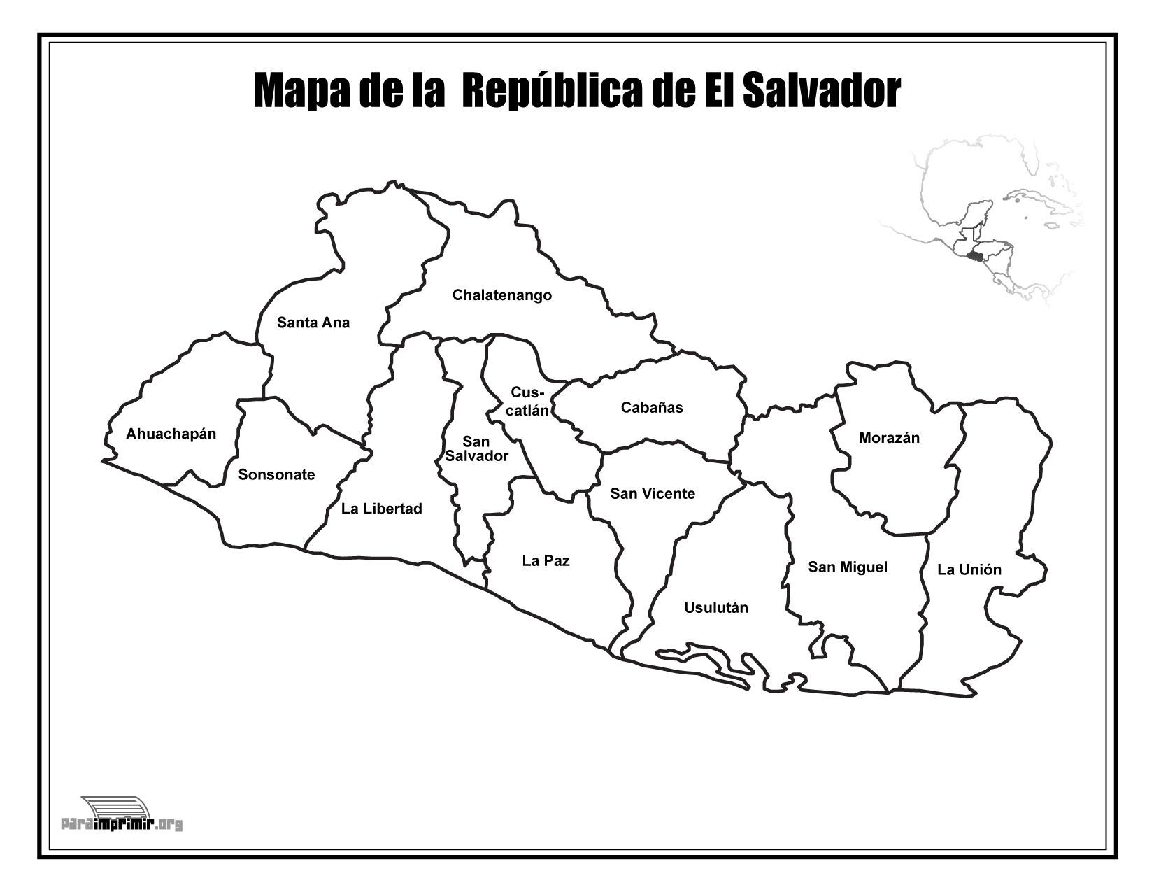 Mapa De El Salvador Con Nombres Para Imprimir