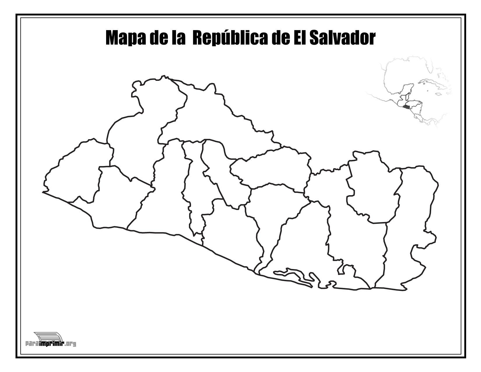 Mapa de El Salvador sin nombres para imprimir