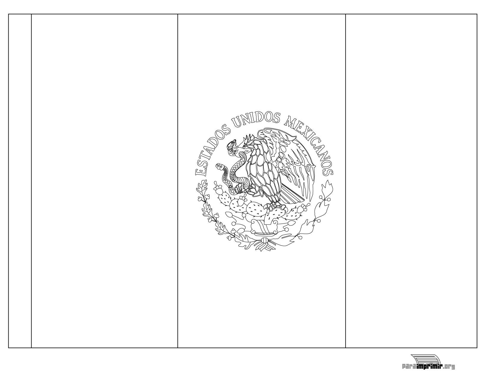 Bandera De México Para Colorear Y Para Imprimir