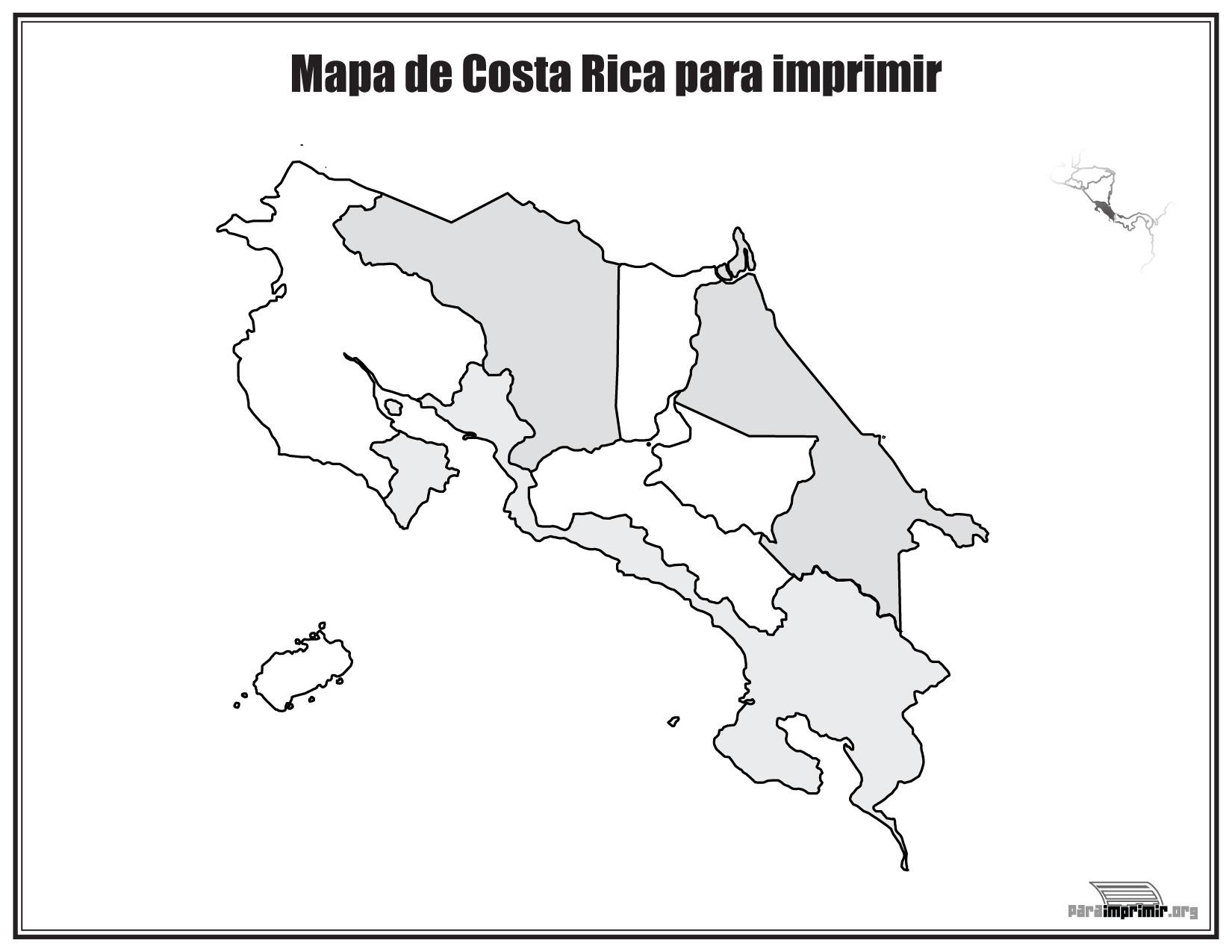 Mapa De Costa Rica Sin Nombres Para Imprimir