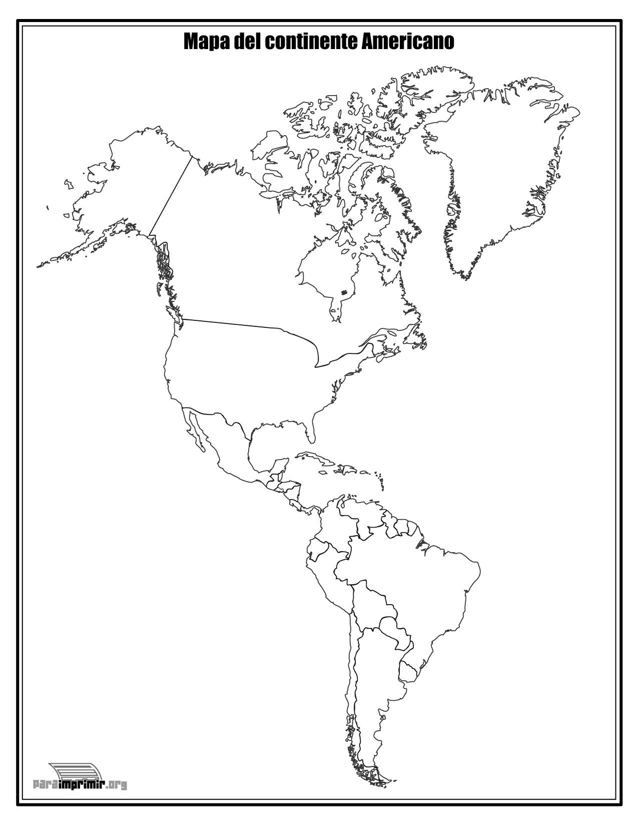 Mapa del continente Americano sin nombres para imprimir