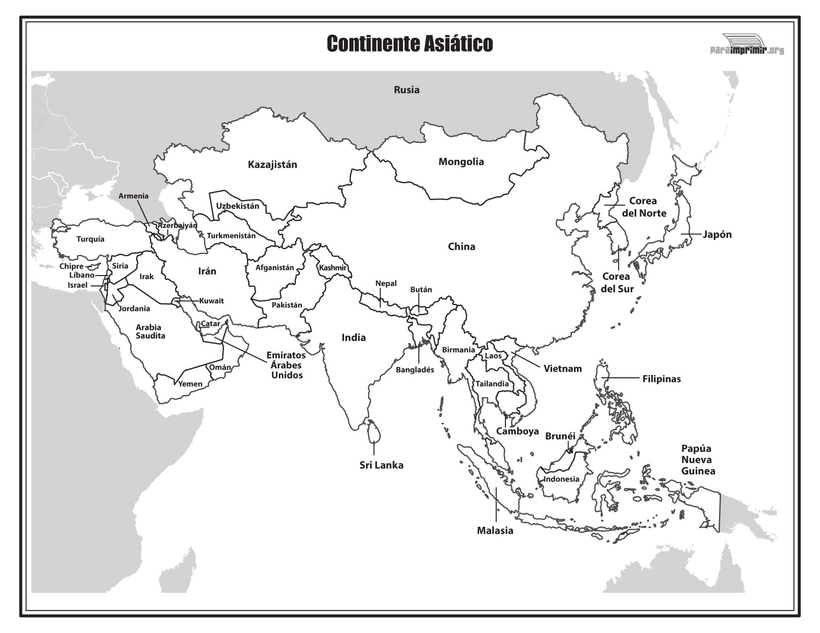 Mapa del continente asitico con nombres para imprimir