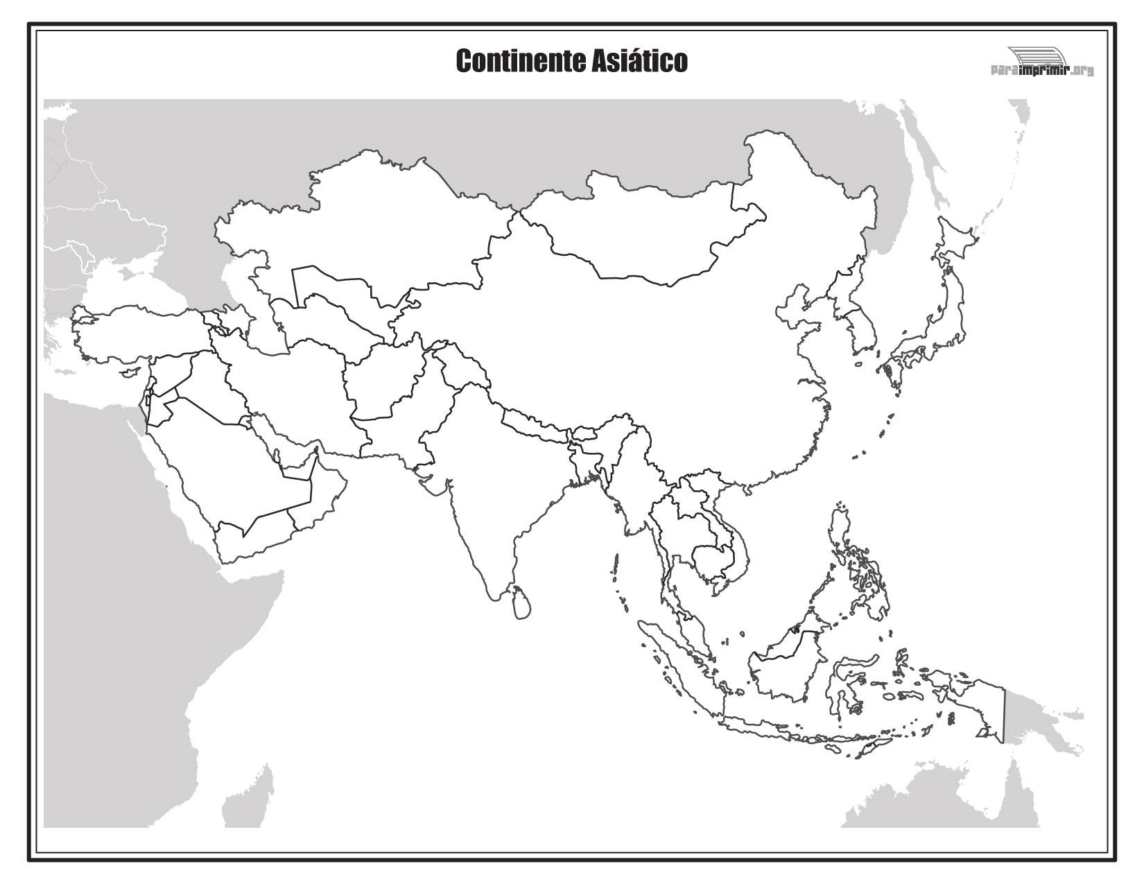 Mapa Del Continente Asiático Sin Nombres Para Imprimir