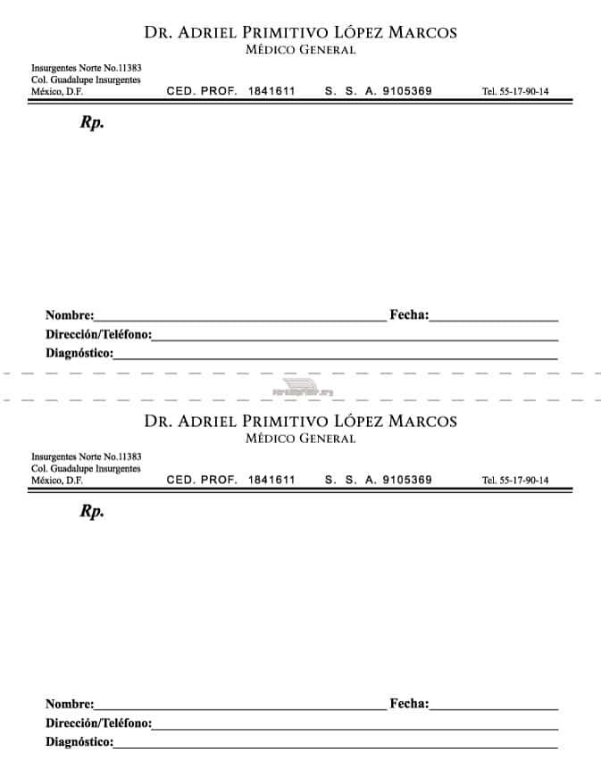 recetas medicas en blanco para imprimir con sellos