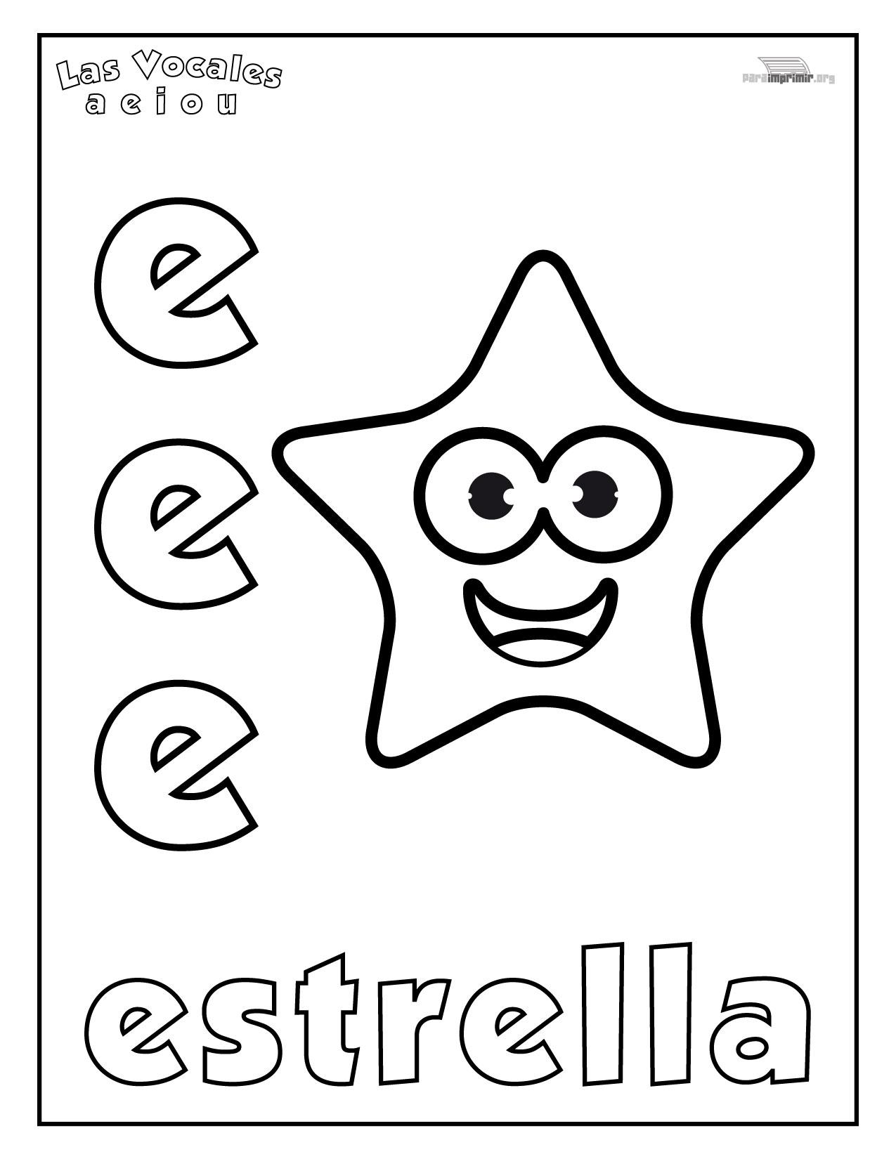 Letra E Para Colorear Y Para Imprimir
