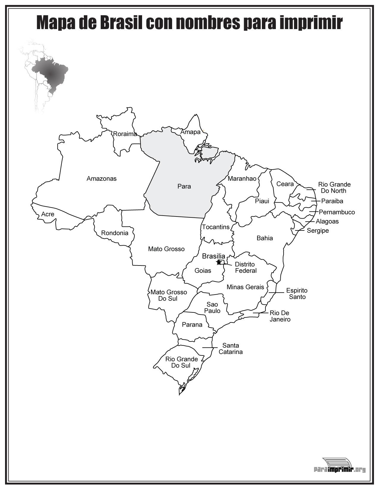 Mapa de Brazil con nombres para imprimir