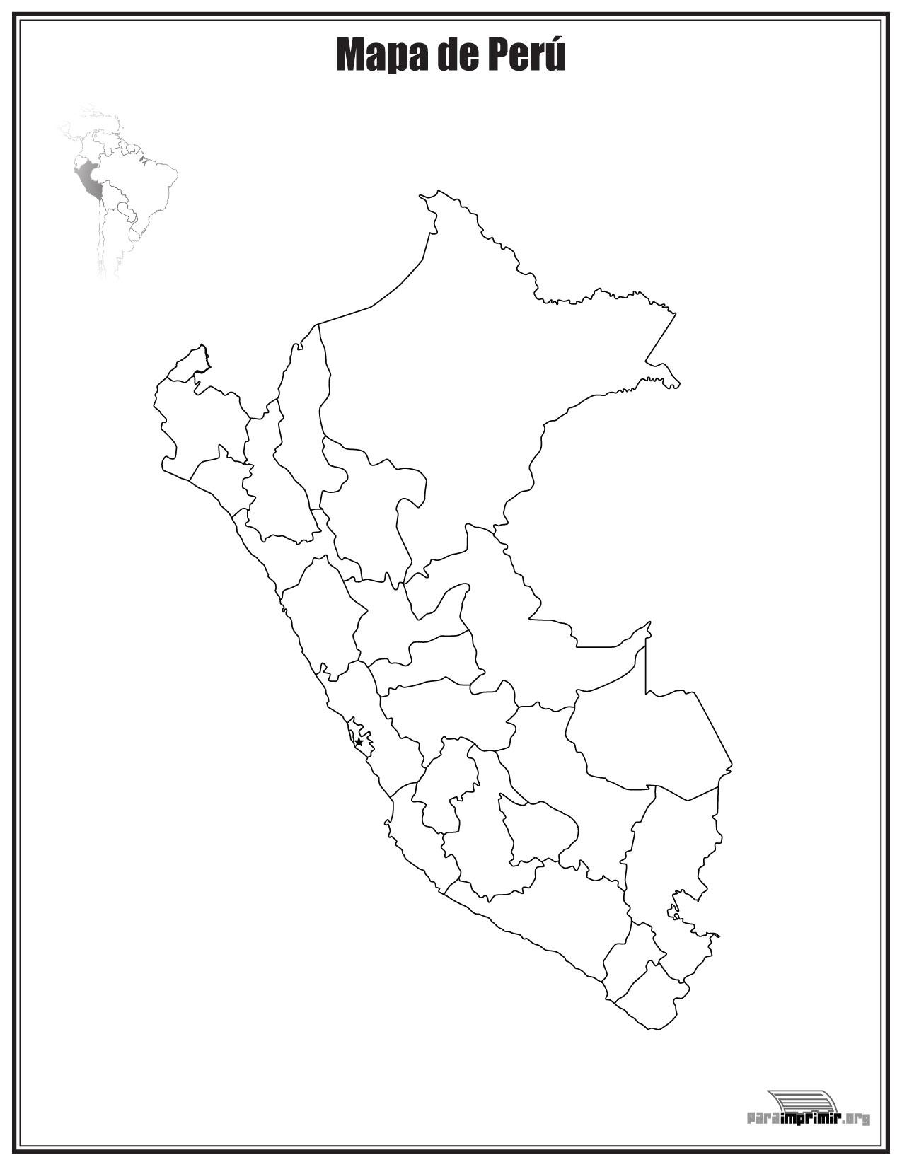 Mapa de Perú sin nombres para imprimir