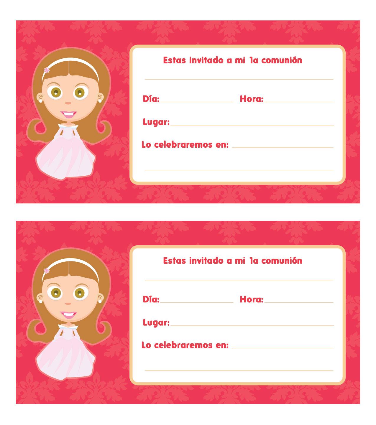 Invitaciónes de primera comunión para editar gratis - Imagui