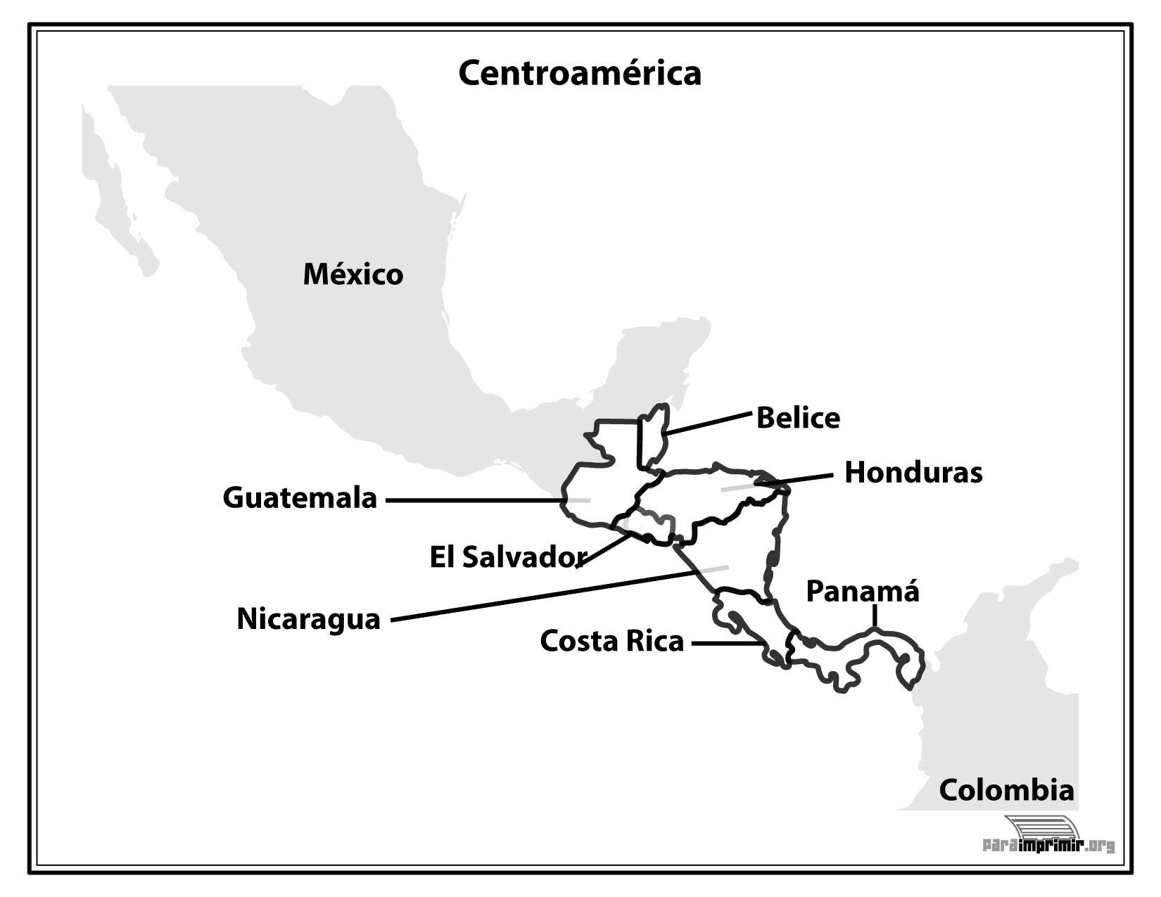 Mapa de Centroamrica con nombres para imprimir