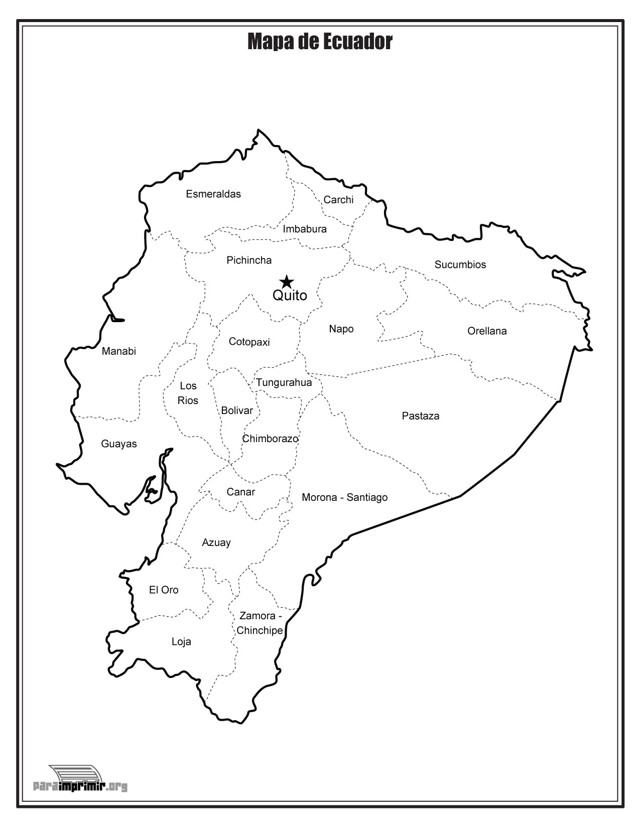 Mapa de Ecuador con nombres para imprimir