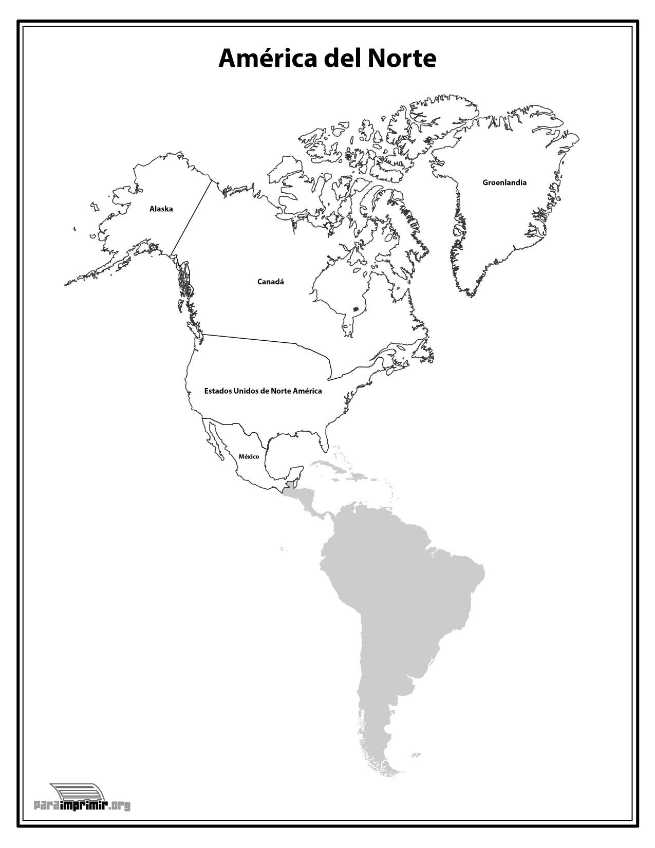 Mapa Del Continente Norte Americano Con Nombres Para Imprimir