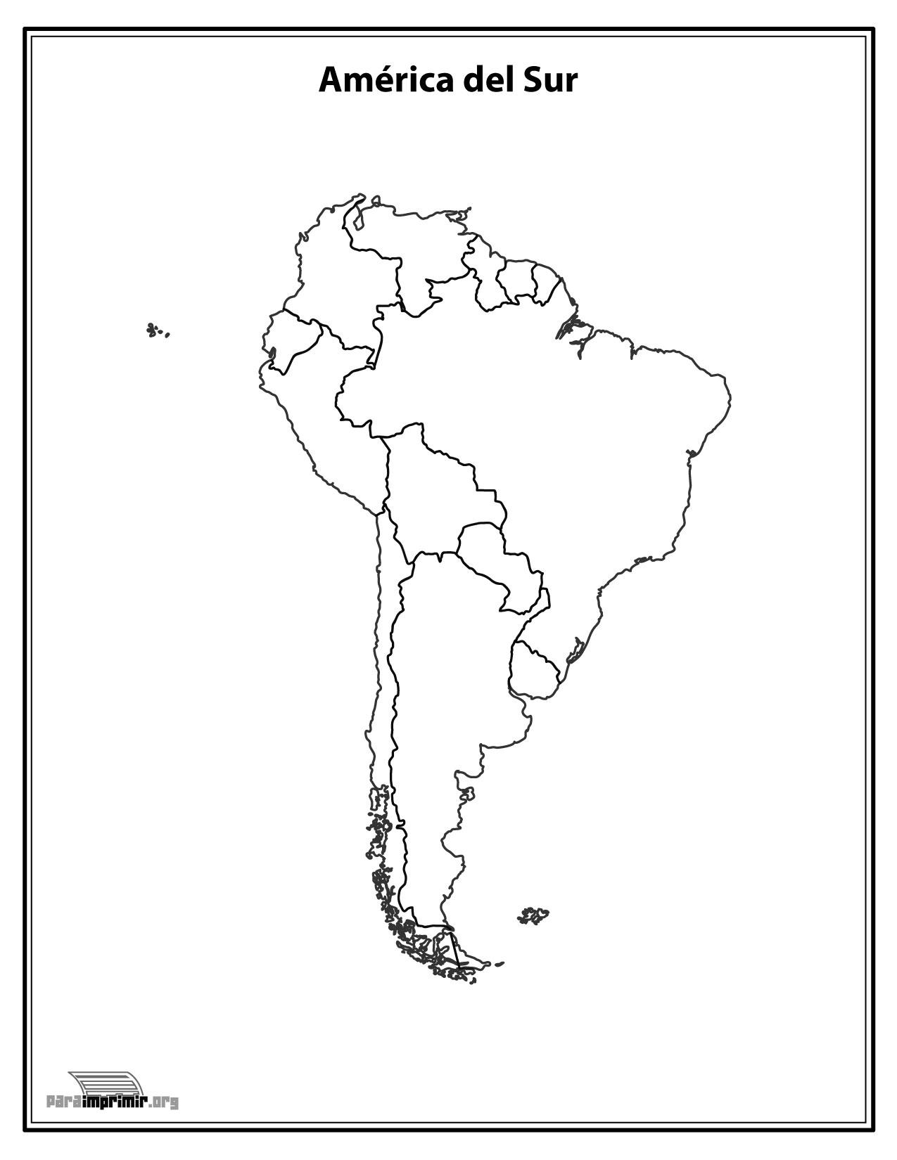 Mapa America Del Sur Con Nombres.Mapa Del Continente Sur Americano Sin Nombres Para Imprimir