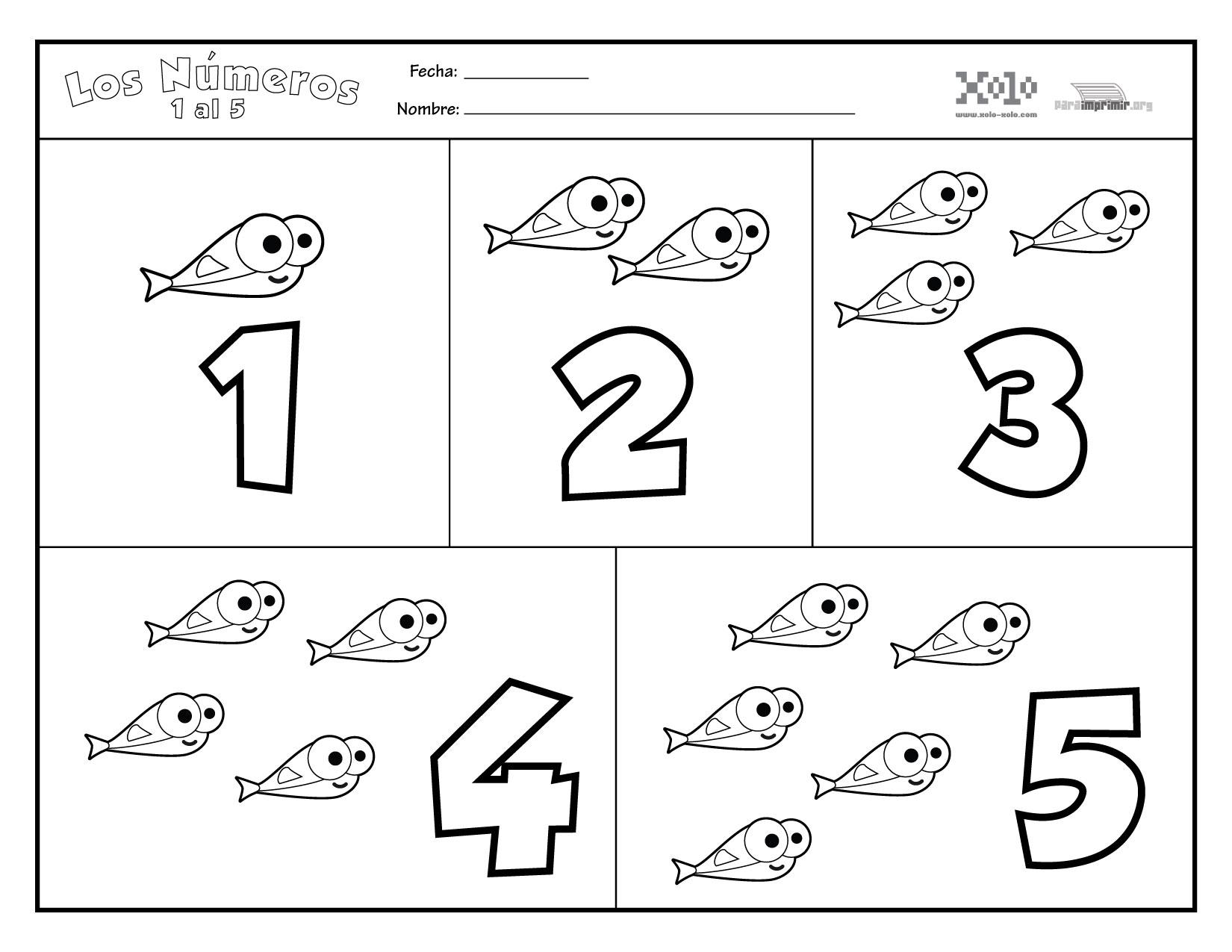 Números para imprimir del 1 al 5
